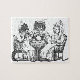 Skvallra har katter Teapartyet Pussel Med Foto