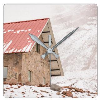 Skydd på det Chimborazo berg i Ecuador Fyrkantig Klocka