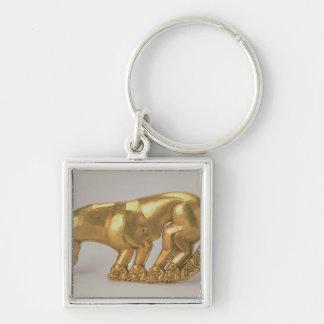 Skydda emblemen i form av en panter fyrkantig silverfärgad nyckelring