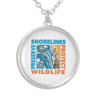 Skydda stränder silverpläterat halsband