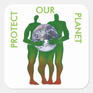 Skydda våra planetklistermärkear fyrkantigt klistermärke