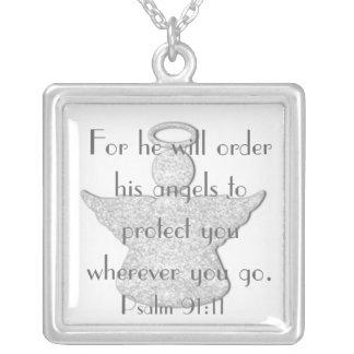 Skyddat vid 91:11 för Psalm för änglarbibelverse Halsband Med Fyrkantigt Hängsmycke