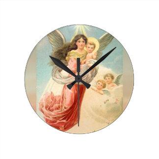 Skyddsängel med barn rund klocka