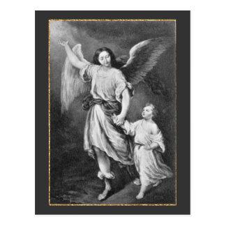 Skyddsängel och barn vykort