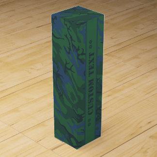 Skymning gröna Camo med beställnings- text Presentask För Vinflaska