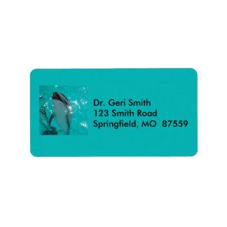 Slå delfin i Blått-Grönt bassäng Adressetikett