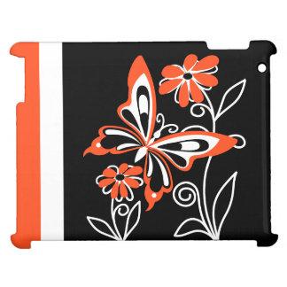 Slå orange fjäril och blommor på svart iPad mobil fodral
