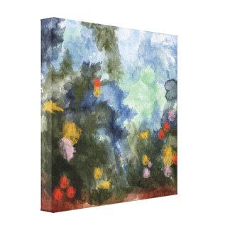 Slågen in kanfas, blommig vägvattenfärg canvastryck
