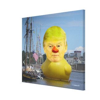 Slågen in kanfas för Donald Trump gummigult anka Canvastryck