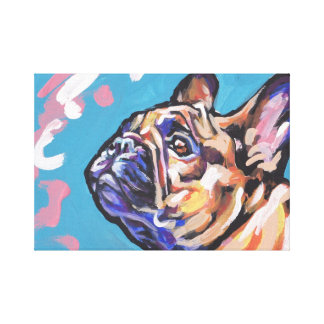 Slågen in kanfas för Frenchie fransk bulldoggpop Canvastryck