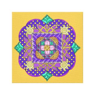 Slågen in kanfas för Mandala 1 på guld- bakgrund Canvastryck