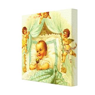 Slågen in kanfas för Victoriannyfödd bebisCherubs  Canvastryck