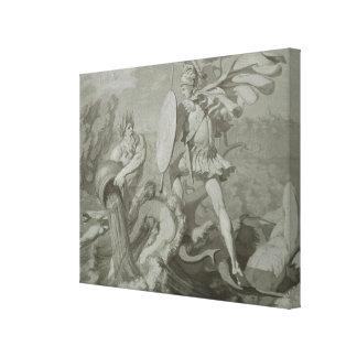 Slagsmål av Achilles med floden Scamander Canvastryck