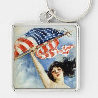 Slagsmål- eller köpförbindelser, affisch för vinta fyrkantig silverfärgad nyckelring