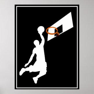 Slam dunkbasketspelare - vitSilhouette Poster