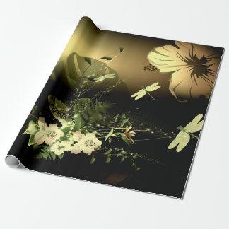 Slända med blommor presentpapper