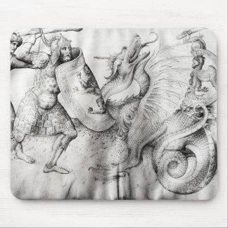 Slåss mellan krigare och en drake, c.1450 musmatta