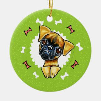 Släta kranen för jul för Bryssel Griffon hundben Julgransprydnad Keramik