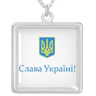 Slava Ukrajini! Halsband Med Fyrkantigt Hängsmycke