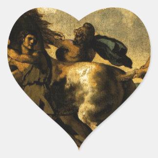 Slaves som stoppar en häst, studie för tävlingen hjärtformat klistermärke