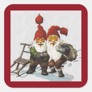 Sledding för Julenisse vänner Fyrkantigt Klistermärke