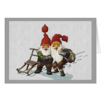 Sledding för Julenisse vänner Hälsningskort