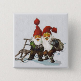Sledding för Julenisse vänner Standard Kanpp Fyrkantig 5.1 Cm