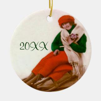 Sledding prydnad för vintage julgransprydnad keramik