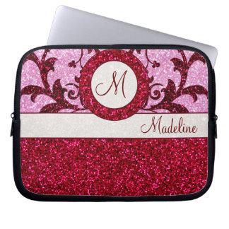 Sleeve för monogram för rött rosaglitter datorskydds fodral