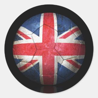 Sliten brittisk boll för flaggafotbollfotboll runt klistermärke