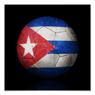 Sliten kubansk boll för flaggafotbollfotboll poster