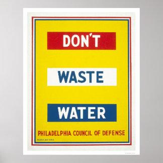 Slösa inte vatten WPA Affisch