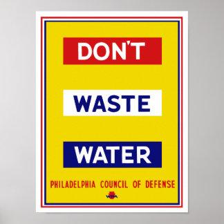 Slösa inte vatten -- WPA Poster