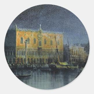 Slotten regnar i Venedig vid månsken vid Runt Klistermärke