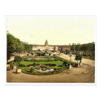 Slottet, Karlsruhe, Baden, tysklanda sällsynta Vykort