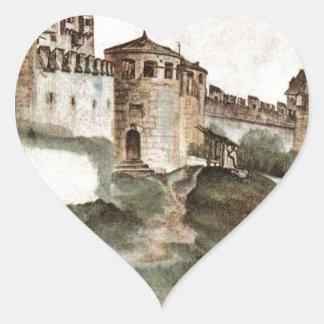 Slottet på Trento av Albrecht Durer Hjärtformat Klistermärke