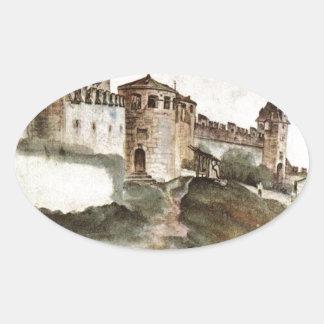 Slottet på Trento av Albrecht Durer Ovalt Klistermärke