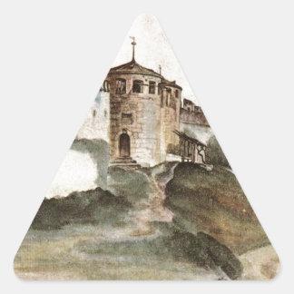 Slottet på Trento av Albrecht Durer Triangelformat Klistermärke