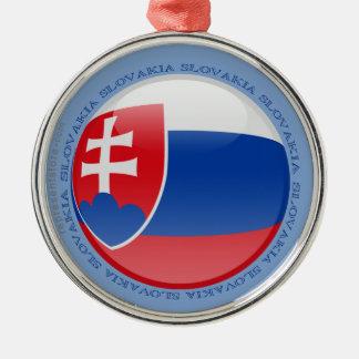 Slovakien bubblar flagga rund silverfärgad julgransprydnad