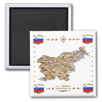 Slovenien karta + Flaggormagnet Magnet För Kylskåp
