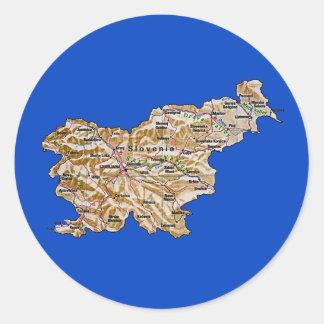 Slovenien kartaklistermärke runt klistermärke