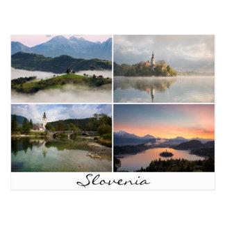 Slovenien landskap med kyrkacollagesouvenir vykort