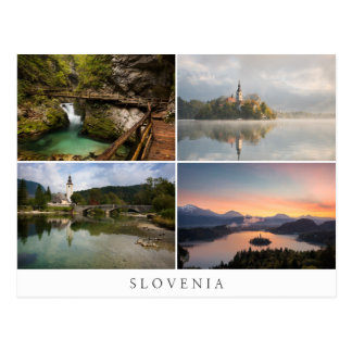 Slovenien landskap runt om blödd collagesouvenir vykort