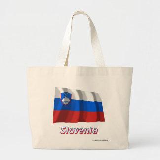 Slovenien som vinkar flagga med namn tote bags