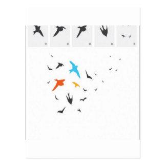 Slumpmässig fågelsilhouettesdesign vykort