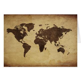 Slut upp av antik världskarta 3 hälsningskort