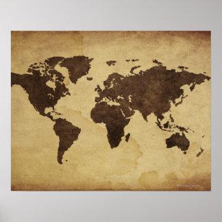 Slut upp av antik världskarta 3 poster