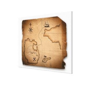 Slut upp av den antika världskartan med canvastryck