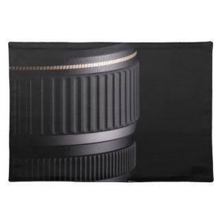 Slut upp av den moderna kameralinsen på svart bordstablett