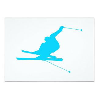 Sluttande Skier för Aquablått 12,7 X 17,8 Cm Inbjudningskort